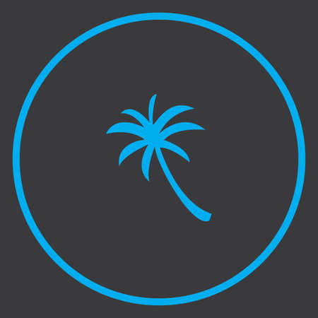 palmtree: A Blue Icon Isolated on a Grey Background inside a circle - Palmtree