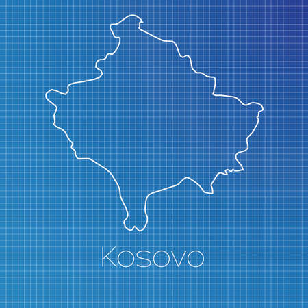 schematic: A Schematic outline of the country of Kosovo Stock Photo