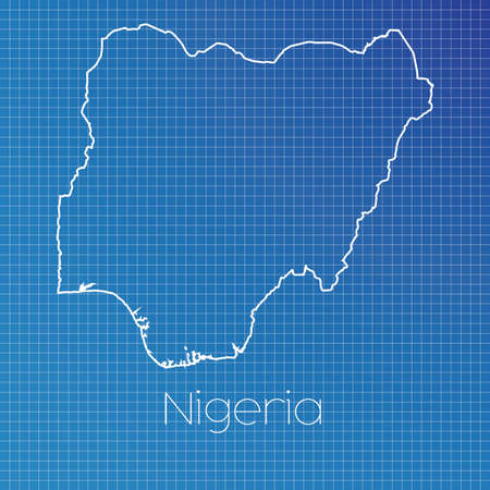 schematic: A Schematic outline of the country of Nigeria Stock Photo