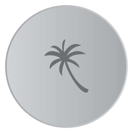 palmtree: A Grey Icon Isolated on a Button with Grey Background - Palmtree