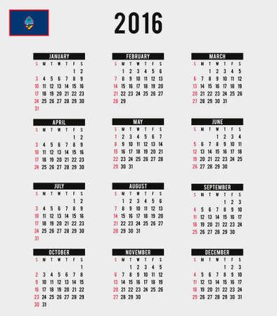 guam: A 2016 Calendar with the Flag of Guam Stock Photo