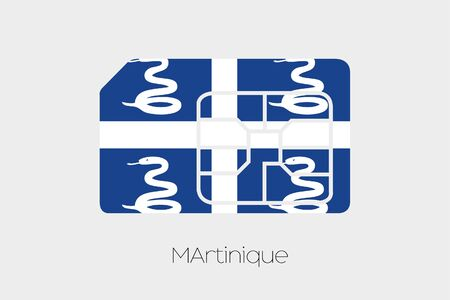 martinique: A SIM Card Flag Illustration of the country of Martinique