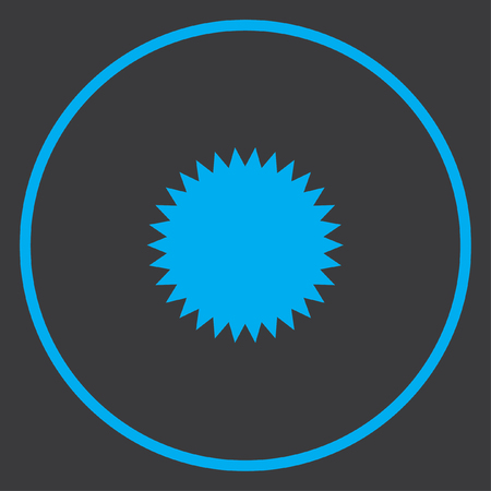 spikey: A Blue Icon Isolated on a Grey Background inside a circle - Spikey Circle