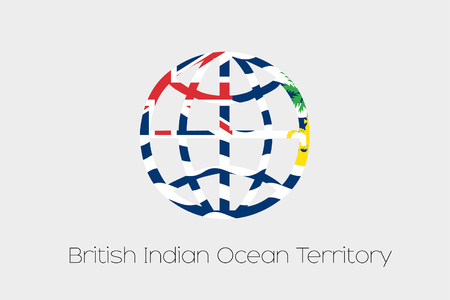 indian ocean: A Flag Illustration inside a world icon of British Indian Ocean Territory