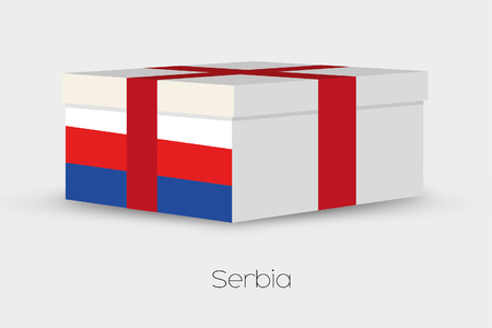 serbia xmas: A Gift Box with the flag of Serbia