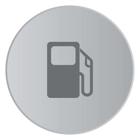 petrol pump: A Grey Icon Isolated on a Button with Grey Background - Petrol Pump Stock Photo