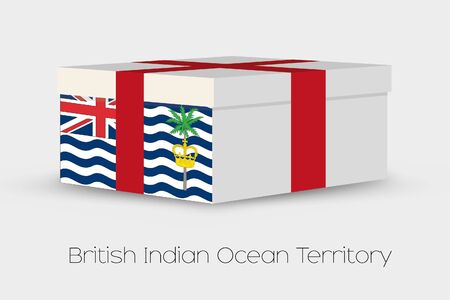 indian ocean: A Gift Box with the flag of British Indian Ocean Territory Stock Photo