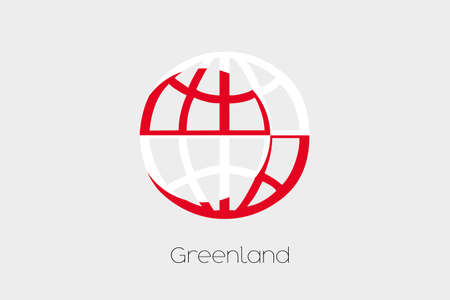greenland: A Flag Illustration inside a world icon of Greenland Stock Photo