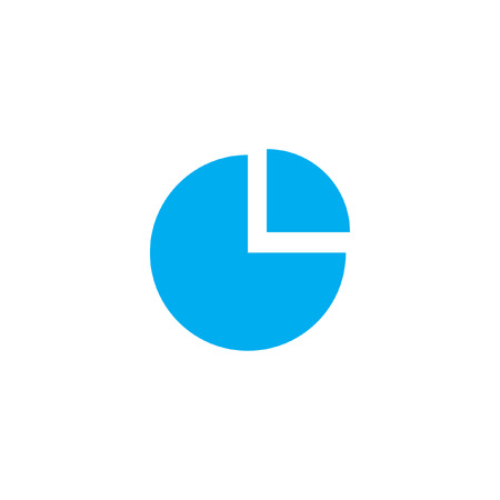 exploded: A Blue Icon Isolated on a White Background - Pie Chart Exploded