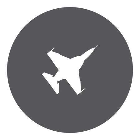 fighter jet: A White Icon Isolated on a Grey Background - Fighter Jet