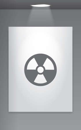 radio active: A Grey Icon Isolated on Gallery Wall - Radio Active Stock Photo