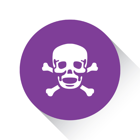 cross bones: A Purple Icon Isolated on a White Background - Skull and Cross Bones