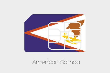 american media: A SIM Card Flag Illustration of the country of American Samoa
