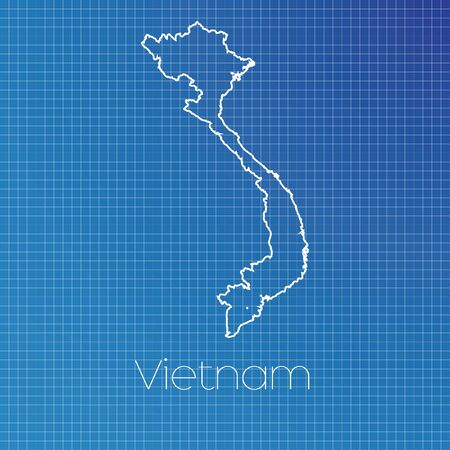 A Schematic Outline Of The Country Of Vietnam Stock Photo, Picture ...