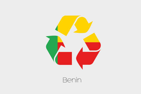 benin: A Flag Illustration inside a Recycling Icon of the country of Benin