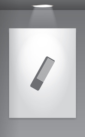 hairbrush: A Grey Icon Isolated on Gallery Wall - Hairbrush