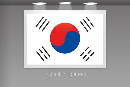 korea flag: A Flag Isolated on Gallery Wall of South Korea Stock Photo