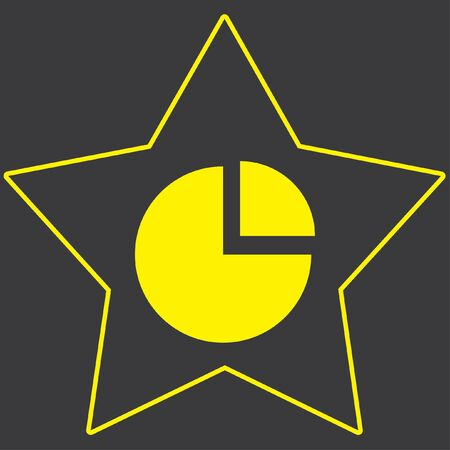exploded: A Yellow Icon Isolated on a Grey Background inside a star - Pie Chart Exploded Stock Photo