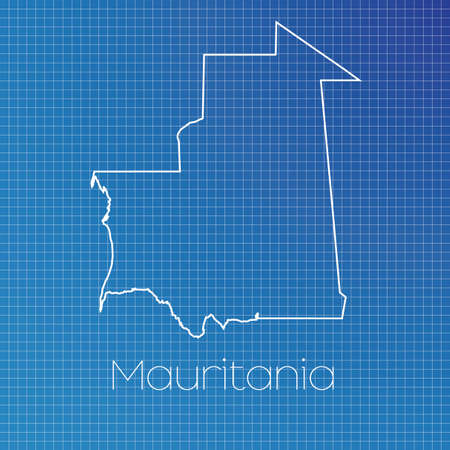 A Schematic Outline Of The Country Of Mauritania Stock Photo ...