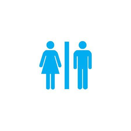 inodoro: Un icono azul aislado en un fondo blanco - Aseo
