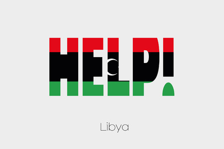libya: A Flag Illustration inside the word Help of the country of Libya-46