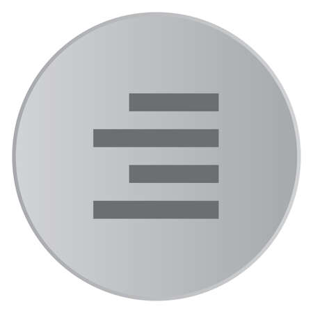 align: A Grey Icon Isolated on a Button with Grey Background - Right Align Stock Photo