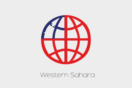 samoa: A Flag Illustration inside a world icon of Western Samoa