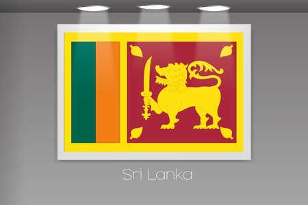 lanka: A Flag Isolated on Gallery Wall of Sri Lanka