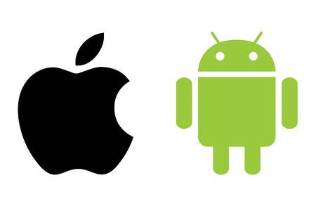 CHESHIRE, UNITED KINGDOM - AUGUST 2, 2015 : Apple and Android Logo