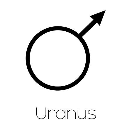 Illustrated Planet Symbols Uranus Royalty Vrije Foto Plaatjes