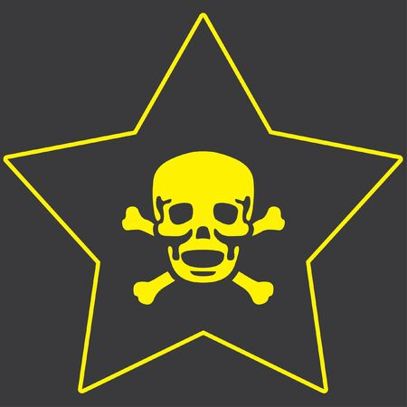 cross bones: A Yellow Icon Isolated on a Grey Background inside a star - Skull and Cross Bones