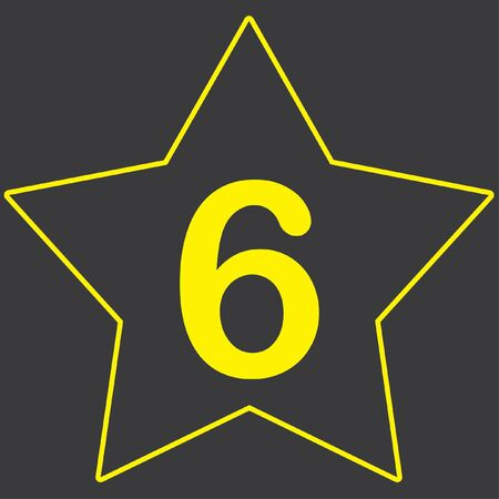 six web website: A Yellow Icon Isolated on a Grey Background inside a star - 6 Stock Photo