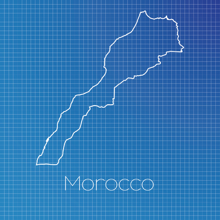 schematic: A Schematic outline of the country of Morocco Stock Photo