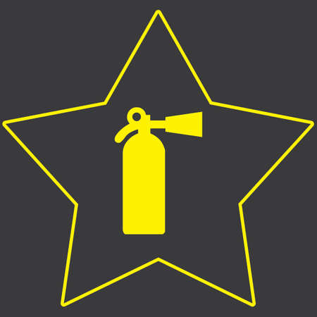 fire extinguisher: A Yellow Icon Isolated on a Grey Background inside a star - Fire Extinguisher