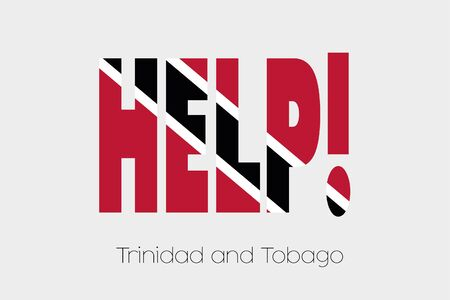 tobago: A Flag Illustration inside the word Help of the country of Trinidad and Tobago Stock Photo