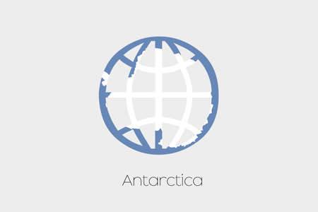 antartica: A Flag Illustration inside a world icon of Antartica