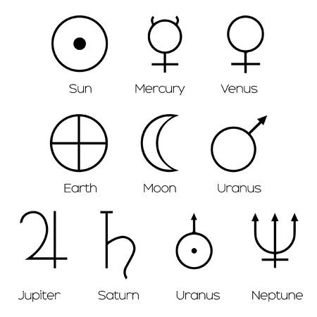 analogy: Planet Symbols - Illustration of the main symbols of astrology isolated and on white background.