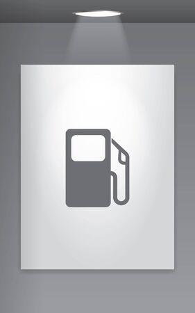 petrol pump: A Grey Icon Isolated on Gallery Wall - Petrol Pump