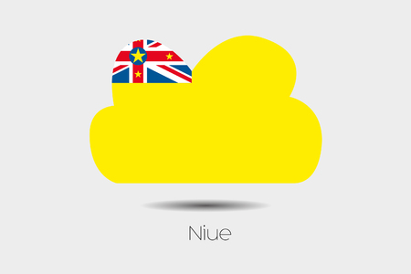 niue: A Flag Illustration inside a cloud of the country of Niue Stock Photo