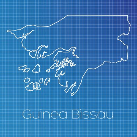 schematic diagram: A Schematic outline of the country of Guinea Bissau Stock Photo