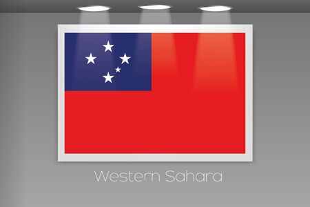 samoa: A Flag Isolated on Gallery Wall of Western Samoa