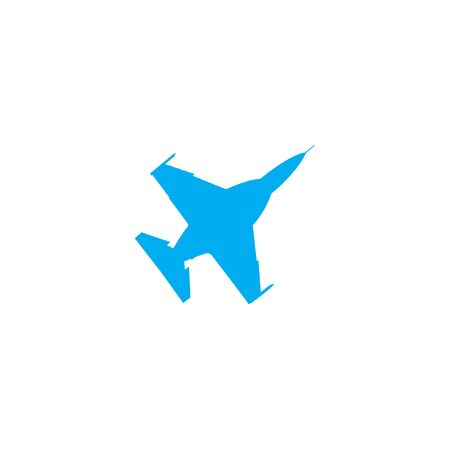 fighter jet: A Blue Icon Isolated on a White Background - Fighter Jet