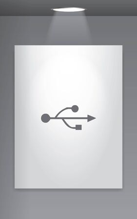 serial: A Grey Icon Isolated on Gallery Wall - USB Universal Serial Bus