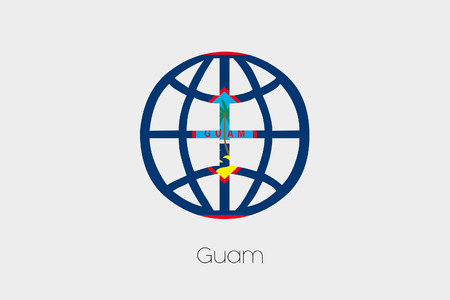 guam: A Flag Illustration inside a world icon of Guam Stock Photo