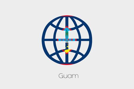 guam: A Flag Illustration inside a world icon of Guam Stock Photo