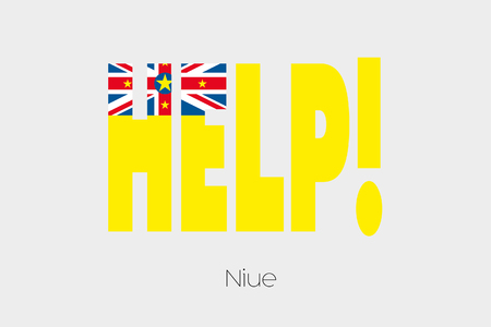 niue: A Flag Illustration inside the word Help of the country of Niue Stock Photo