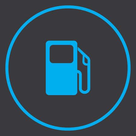 petrol pump: A Blue Icon Isolated on a Grey Background inside a circle - Petrol Pump