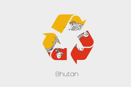bhutan: A Flag Illustration inside a Recycling Icon of the country of Bhutan