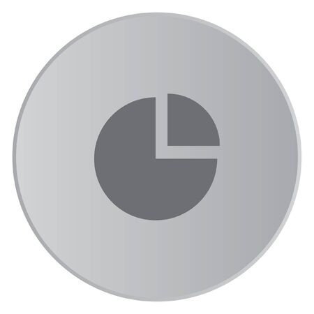 exploded: A Grey Icon Isolated on a Button with Grey Background - Pie Chart Exploded Stock Photo