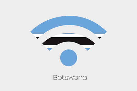 botswana: A Flag Illustration inside a Networking Icon of the country of Botswana